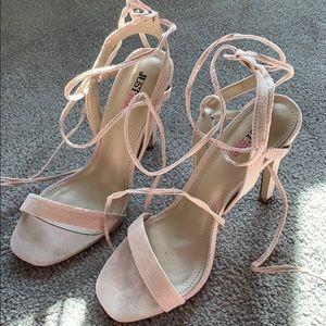 Blush strappy heels